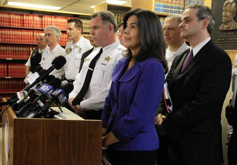 """State's Attorney Anita Alvarez, right, and Chicago Police Supt. Garry McCarthy describe the suspects arrested in a Bridgeport apartment as dangerous to the public during a press conference at the Cook County Courthouse on Saturday, The three out-of-state men are charged in court documents to have considered hitting President Obama's campaign headquarters, Mayor Rahm Emanuel's house and police stations with """"incendiary devices."""""""