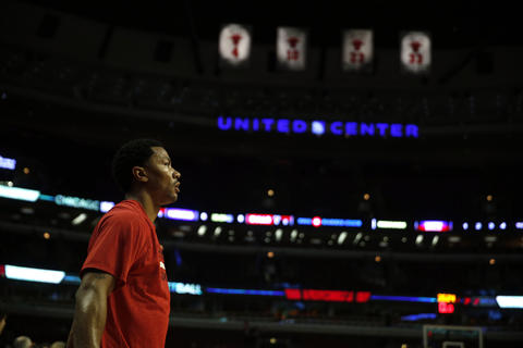 Derrick Rose at the United Center before Tuesday's game.