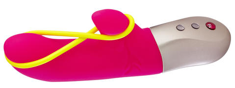 "Fun Factory Amorino vibrator $99, funfactoryusa.com Gender: Female Relationship status: In a relationship How you used the toy: Solo and in an opposite-sex pairing The toy's claims: ""The gently taut silicone stimulation band is placed between the softly rounded tip and the side bud for clitoral arousal. It externally stimulates the Venus mound and the vaginal lips--this little detail ensures levels of excitement of a special kind. When using vaginally and anally simply remove the neon yellow band."" What you thought: When using Amorino alone, I couldn't figure out exactly where the stimulation band should rest, so I removed it for vaginal use, which proved very effective. My partner also struggled to use the stimulation band, so it was quickly flung aside while he continued using it externally to great success. What your partner thought: ""Controlling the vibration levels is intuitive and simple. At one point while using it I heard a strange noise in the kitchen; with this sturdy vibrator in hand, I felt bold enough to confront any intruder. (There was no intruder; I'm guessing they probably bolted when they heard me crank up the vibration intensity). Upon returning to the bedroom, it got the job done quickly and efficiently."" Would you use this again?: Yes. Additional comments: I've been a Fun Factory fan for years due to their beautiful designs, and the Amorino continues that trend."