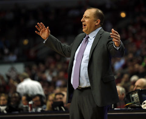 Bulls coach Tom Thibodeau in 2nd quarter against the Hawks.
