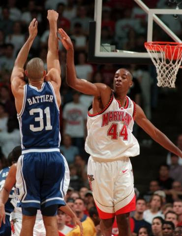 Shane Battier goes up for a shot against Terence Morris.
