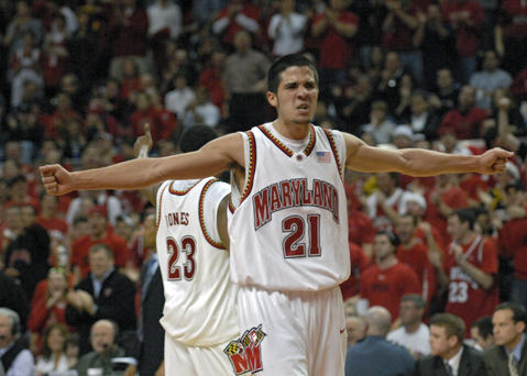 Greivis Vasquez riles up Maryland's fans during a win over Duke.