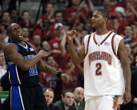 D.J. Strawberry pumps his fist after he forced Duke's DeMarcus Nelson to make a bad pass.