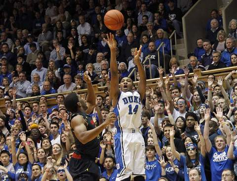 Rasheed Sulaimon shoots a 3-pointer against Pe'Shon Howard.
