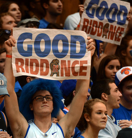 Duke fans bid a less-than-sincere farewell to a Maryland team bound for the Big Ten.