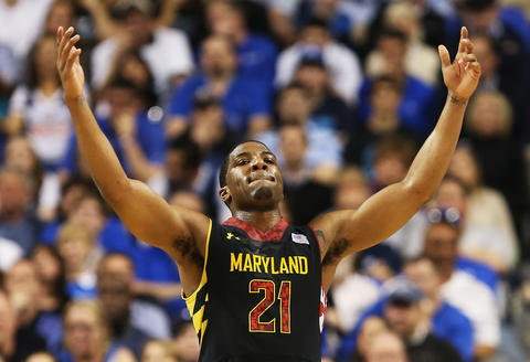 Pe'Shon Howard reacts in the second half of an ACC quarterfinal victory over Duke.