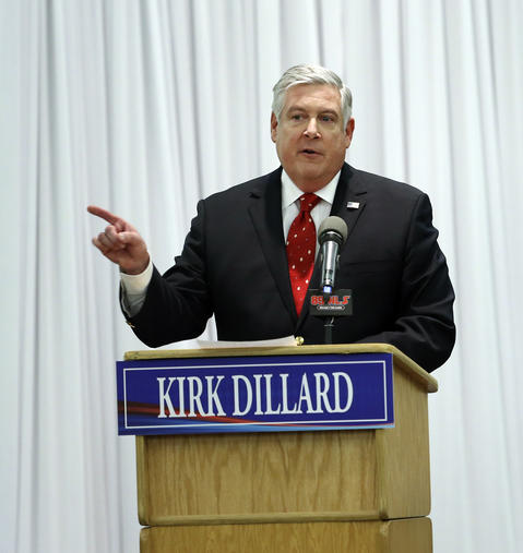 GOP gubernatorial candidate Kirk Dillard, speaks before the conclusion of the debate at the Stonegate Conference and Banquet Centre in Hoffman Estates on Monday.