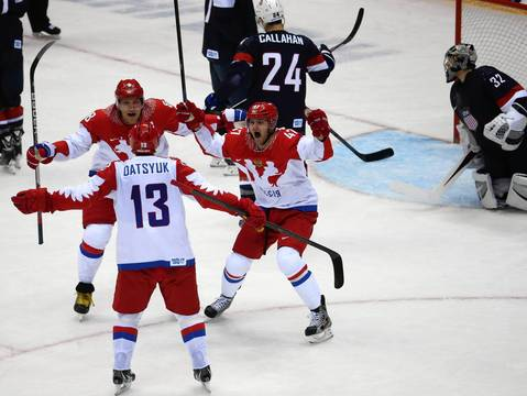 """A couple of the goals made nice reactions, particularly Russia's second in the third period, but I was still waiting for a big one at the end of the third period. Russia thought they had it and the celebration was on until the referees ruled the goal was off its moorings."""