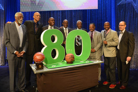 Former NBA Legends help celebrate Bill Russell's 80 birthday during the Legends Brunch at Ernest N. Morial Convention Center. From left to right are Bill Russell, Kareem Abdul-Jabbar, Magic Johnson, Clyde Drexler, Julius Erving, Rev. Jesse Jackson, Kenny Smith, TNT Broadcaster Ernie Johnson.
