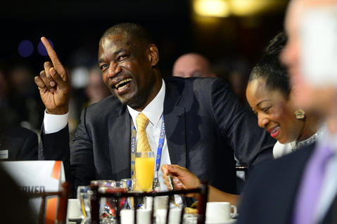 NBA legend Dikembe Mutombo laughs during the 2014 NBA All-Star Game Legends Brunch at Ernest N. Morial Convention Center.