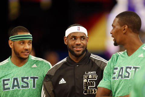 Carmelo Anthony, LeBron James and Chris Bosh before the game.