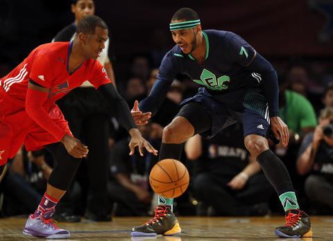 Carmelo Anthony guards Chris Paul.