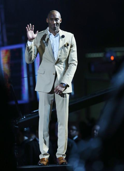 The Western Conference's Kobe Bryant is introduced before the 2014 NBA All-Star Game.