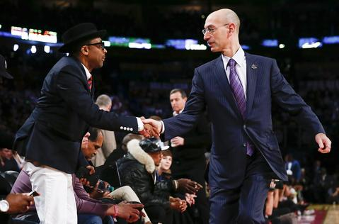 NBA Commissioner Adam Silver greets Spike Lee during the 63rd NBA All-Star Game.