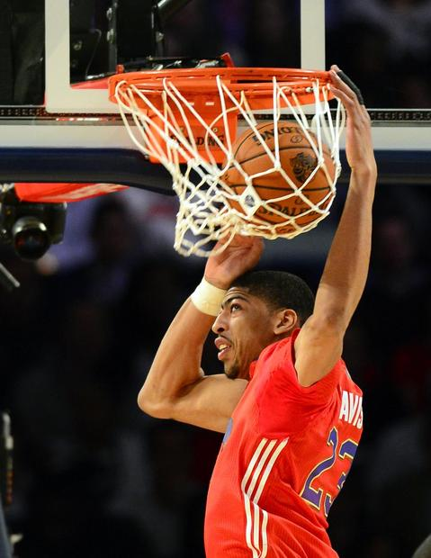 Western Conference forward Anthony Davis of the Pelicans dunks the ball. during the 2014 BA All-Star Game at the Smoothie King Center. Mandatory Credit: Bob Donnan-USA TODAY Sports ORG XMIT: USATSI-175410