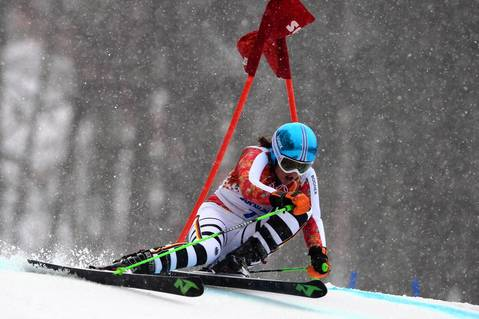 Germany's Viktoria Rebensburg competes during the women's Alpine skiing giant slalom (run 2) at the Rosa Khutor Alpine Center.