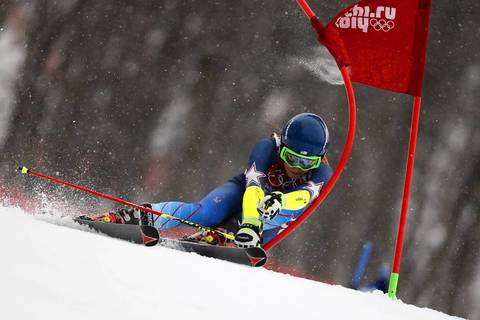 Mikaela Shiffrin, of the USA, competes during the Alpine skiing women's giant slalom at Rosa Khutor Alpine Center.