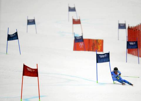 Gold medalist Tina Maze, of Slovenia, makes her second run in the ladies giant slalom during at Rosa Khutor Alpine Center.