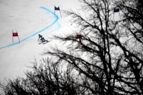 U.S. skier Mikaela Shiffrin competes during the women's Alpine skiing giant slalom at the Rosa Khutor Alpine Center.