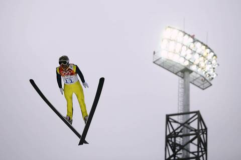 Todd Lodwick, of the United States, competes in the Nordic combined men's individual LH.