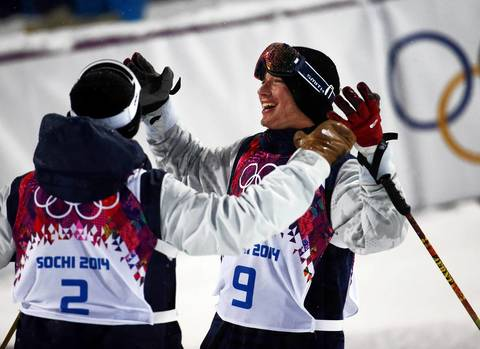 David Wise, right, of the U.S., celebrates winning the gold medal in men's ski halfpipe at Rosa Khutor Extreme Park.