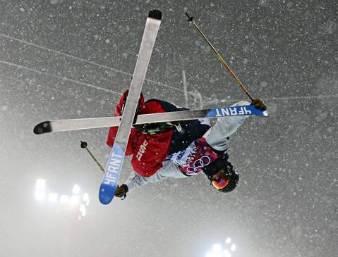 David Wise, of the U.S., competes in qualifying for the men's ski halfpipe at Rosa Khutor Extreme Park. Wise went on to win the gold.