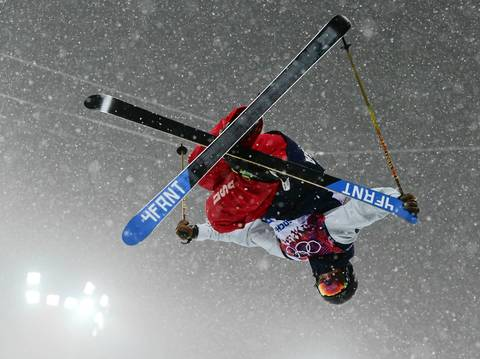 """I finally got my first American gold medalist of the Games in David Wise. I was happy to have some nice photos of him during the qualifying because the finals became extremely foggy. At some points you couldn¿t even see the skiers very far up the course."""