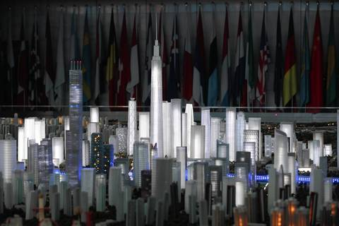 A scale model of skyscrapers to be built for the Binhai New Area development in Tianjin.