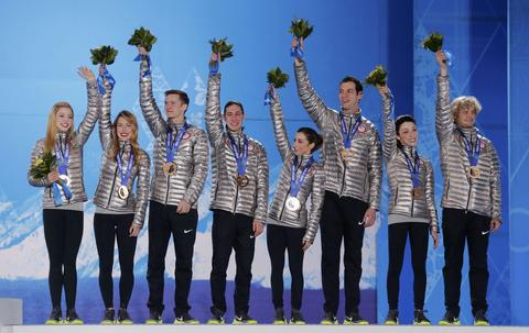 GRACIE GOLD, ASHLEY WAGNER, JEREMY ABBOTT, JASON BROWN, MARISSA CASTELLI, SIMON SHNAPIR, MERYL DAVIS, CHARLIE WHITE: Bronze medal, team figure skating.