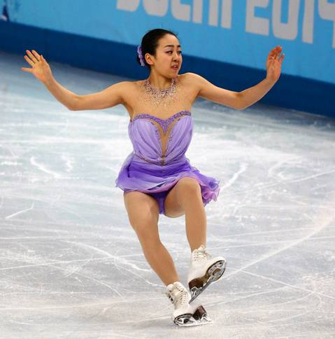 """Several of the big names, including Yulia and Mao Asada, of Japan, had big falls. ""You never want to see an athlete stumble in their big moment, but if it's going to be part of the storyline you at least want to be to see it."" Mao Asada falls during her short program in ladies' figure skating."