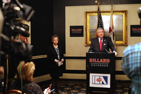 Republican gubernatorial candidate Kirk Dillard speaks at a press conference announcing the endorsement of the Illinois Education Association in the 2014 campaign for the GOP nomination for Governor. IEA president Cinda Klickna, left, joins Dillard.