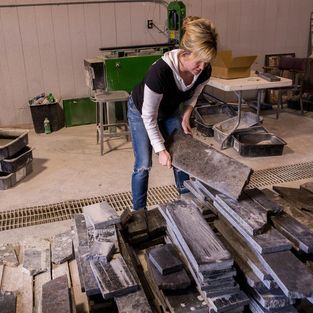 Bon Julie Rizzo Picks Up Recycled Granite Slabs. (Zbigniew Bzdak / Blue Sky /  Feb. 19, 2014)