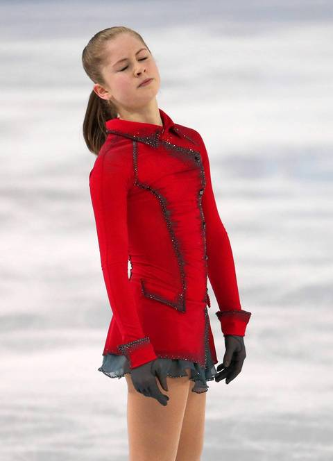 """The drama was in the last group of five skaters. Russian phenom Yulia Lipnitskaya went first, but just like yesterday she had a fall and looked very disappointed afterward."""