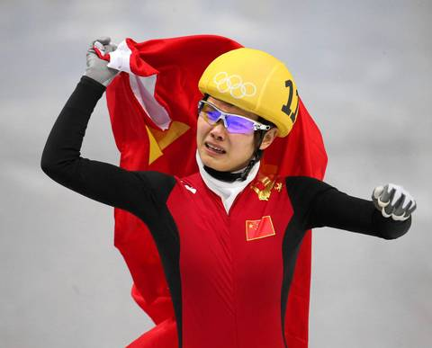 China's Jianrou Li, who won the 500m, had tears in her eyes as she came over to celebrate with the Chinese delegation cheering in the stands.""