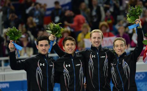 Eduardo Alvarez, J.R. Celski, Chris Creveling, and Jordan Malone: silver medal, short track speedskating men's 5,000-meter relay.