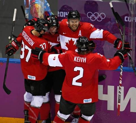 Canada forward Sidney Crosby (87) celebrates his goal against Sweden in the second period of the gold medal men's hockey game at the Winter Olympics in Sochi, Russia.