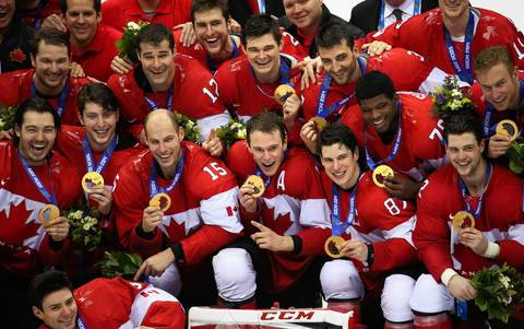 Canada celebrates their win in the gold medal men's hockey game at the Winter Olympics in Sochi, Russia. Canada defeated Sweden, 3-0.