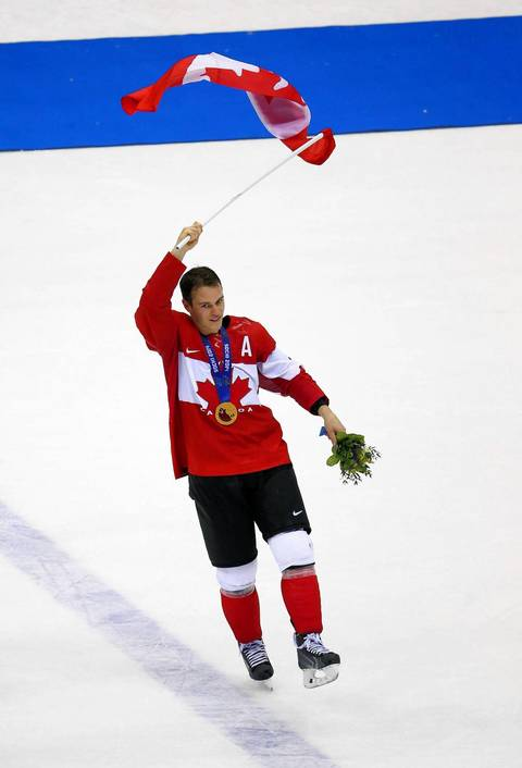 Canada forward Jonathan Toews (16) celebrates after the gold medal men's hockey game at the Winter Olympics in Sochi, Russia. Canada defeated Sweden, 3-0.
