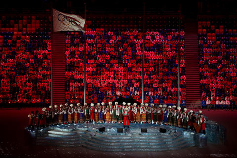 A pre-show performance by the Kuban Cossack Choir during the 2014 Sochi Winter Olympics Closing Ceremony at Fisht Olympic Stadium in Sochi, Russia.