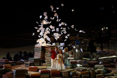 Dancers perform a celebration of Russian literature during the 2014 Sochi Winter Olympics Closing Ceremony.