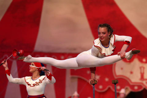 The magic of circus is performed during the 2014 Sochi Winter Olympics Closing Ceremony.