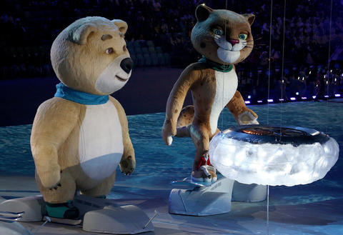 The Sochi Olympics mascots appear during the 2014 Winter Olympics Closing Ceremony.