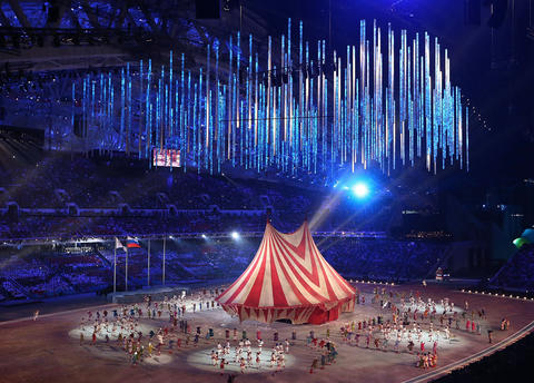 Circus performers take center stage at Fisht Stadium during the 2014 Sochi Winter Olympics Closing Ceremony.