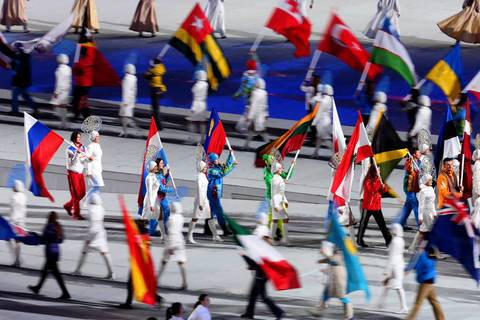 """The closing ceremonies were a nice show, but not as exciting to me as the opening. The highlight again was the arrival of the athletes and their flags."""