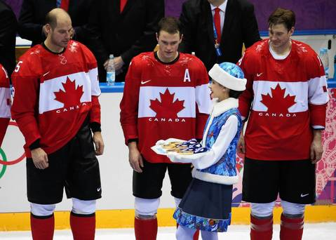 """I thought this moment of Jonathan Toews and his Team Canada teammates was funny, all staring wide-eyed as their gold medals were brought out for the ceremony."""