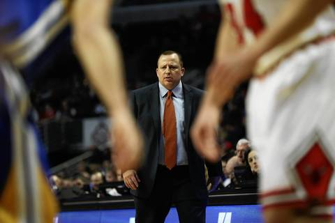 Tom Thibodeau watches the action in the first half.