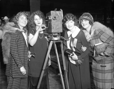 Miss Milwaukee Clare Koehler, from left, Miss Chicago Margaret Leigh, Miss Los Angeles Lillian Knight and Miss Sioux City Alta Sterling, circa Sept. 1924. This was most likely a gathering during the national Atlantic City Miss America beauty pageant, held on Sept. 6, 1924. Leigh was included in the final round of judging, along with Miss Los Angeles.