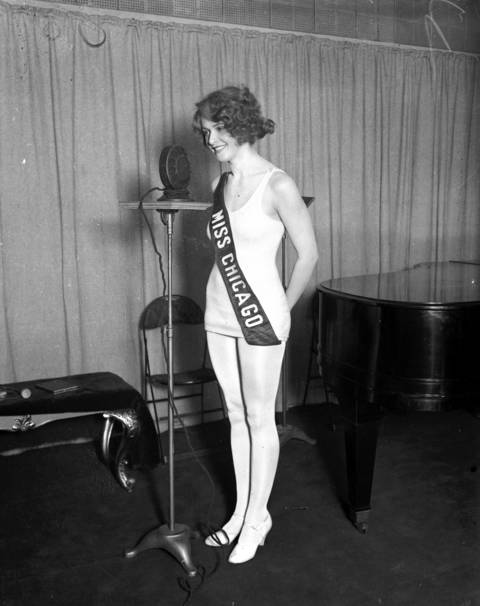 """Estelle Kosloff, 20, circa August 16, 1927. Kosloff won the Miss Chicago beauty pageant in 1927, but was disqualified when the pageant found out she was recently married. Myrtle Christine Valsted, 17, was runner up and therefore became Miss Chicago 1927. Kosloff was divorced a year later. The Tribune quoted the young bride as saying """"I gave up stage and movie offers for him....he was jealous of the theater audiences which saw me in a bathing suit."""""""