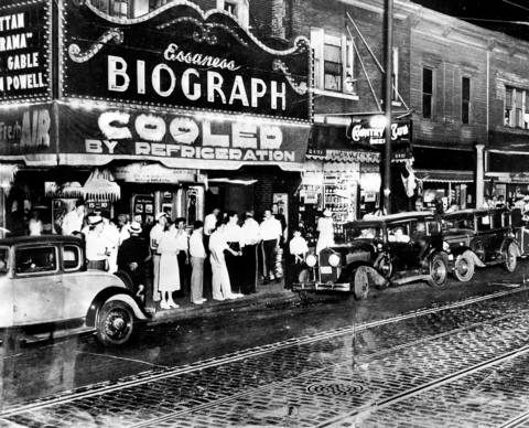 "Dillinger was shot and killed by FBI agents on July 22, 1934 at the Biograph Theater on Lincoln Avenue in Chicago after receiving a tip from Dillinger's friend Anna Sage. Sage, known as the ""Woman in Red,"" told authorities that she, Dillinger, and Dillinger's girlfriend Polly Hamilton Keele would be at the movies and to look for her dressed in red. Some reports say Sage was actually dressed in orange."