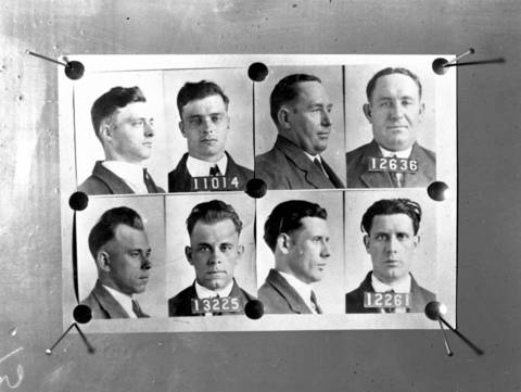 Copy photos of members of John Dillinger's gang, circa Dec. 1933. From top left, are Harry Pierpont (11014), Charles Makley (12636), John Dillinger (13225), and Russell Clark (12261).